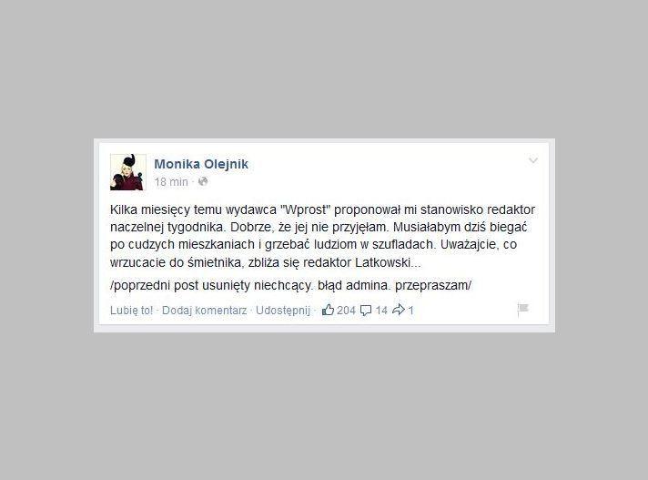 Wpis Moniki Olejnik na Facebooku