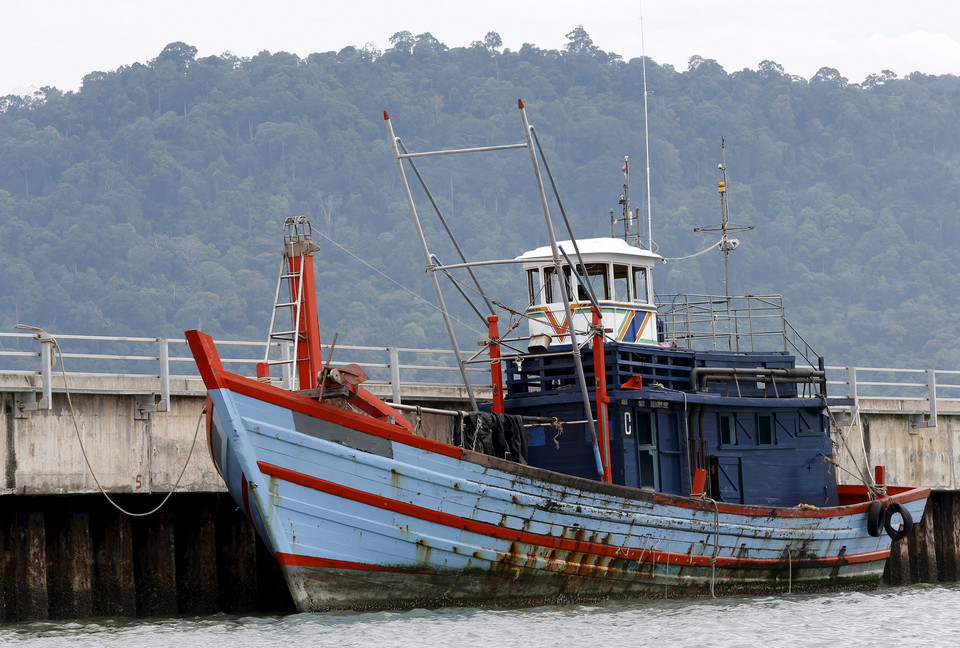 A boat that carried Rohingya migrants for three months is seen at Langkawi island, in Malaysia's northern state of Kedah, Malaysia
