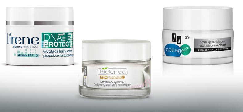 Lirene, DNA Protect 35+ (25zł), Bielenda, Młodzieńczy blask, odżywczy krem nawilżający (19zł); AA Collagen Hial + 30+ Krem ujędrniająco-nawilżający na dzień (26zł)
