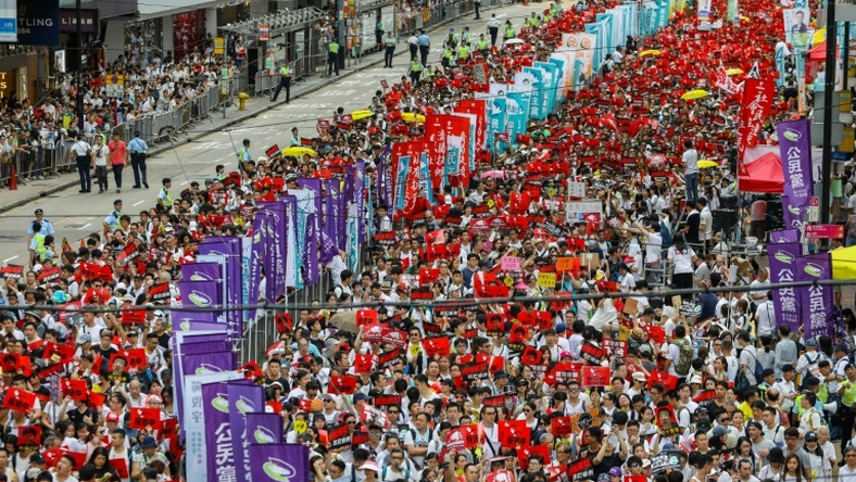 """The crowd size on June 9 was enormous, dubbed """"the million march"""" by Hong Kongers"""