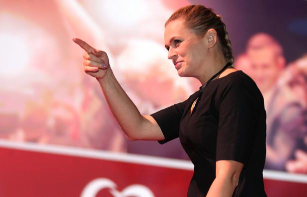Barbara Nowacka podczas Konwencji Wyborczej Zjednoczonej Lewicy w Katowicach