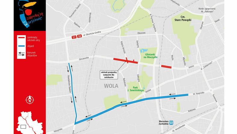Górczewska w Warszawie zamknięta