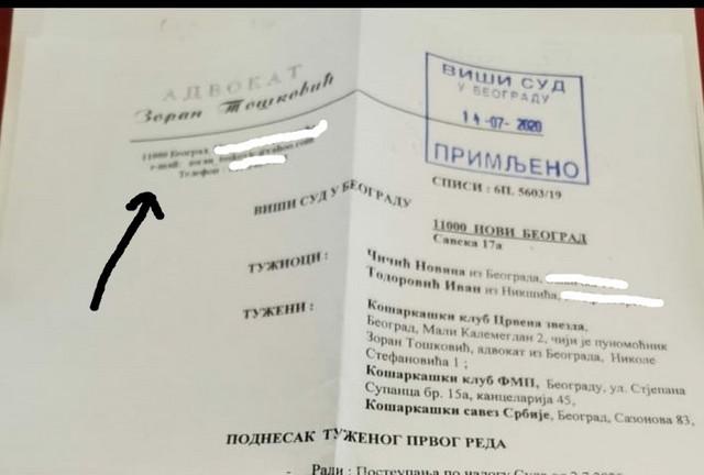 Dokument koji je objavio KK Partizan