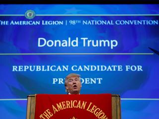 Republican presidential nominee Donald Trump speaks to the American Legion National Convention in Ci
