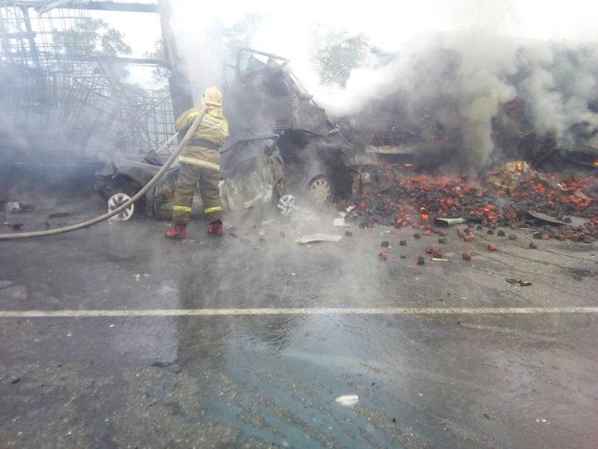 Małżeństwo spłonęło w samochodzie na autostradzie