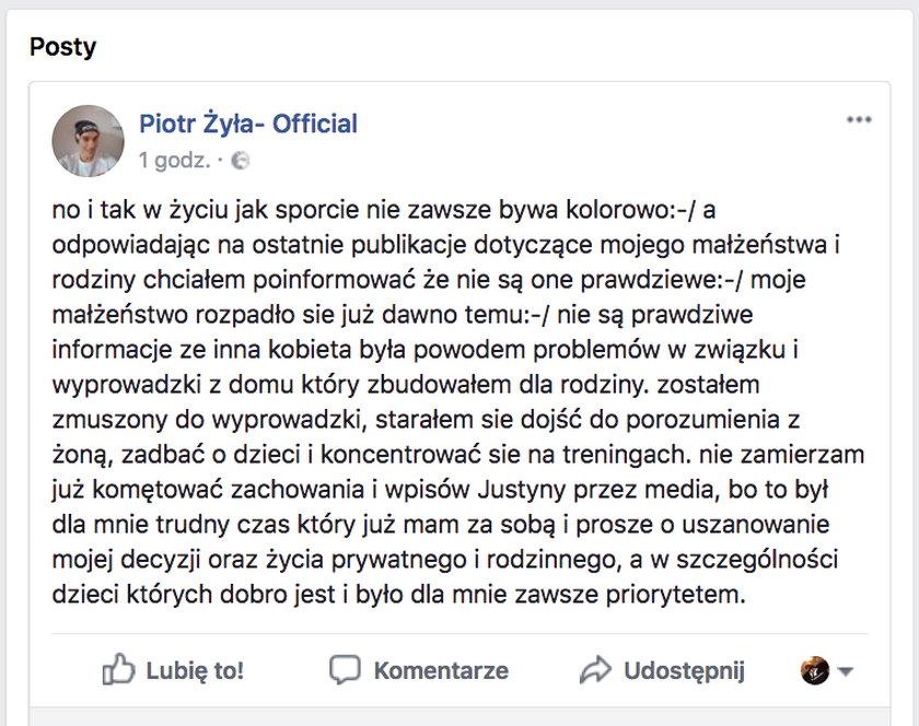 Piotr Żyła przerwał milczenie. Mocno odpowiada żonie