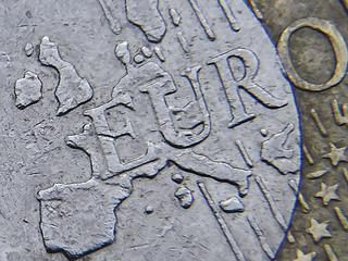 File photograph of detail of a European map, including Great Britain, on the face of a Euro coin
