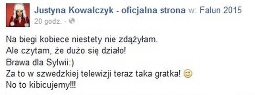 Justyna Kowalczyk kibicuje Kubicy!