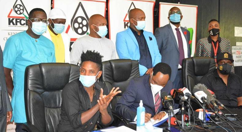 Comedian Eric Omondi finally meets Ezekiel Mutua alongside Churchill & Jalang'o (Photos)