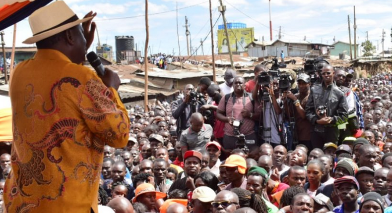 Raila Odinga addressing Kibra residents
