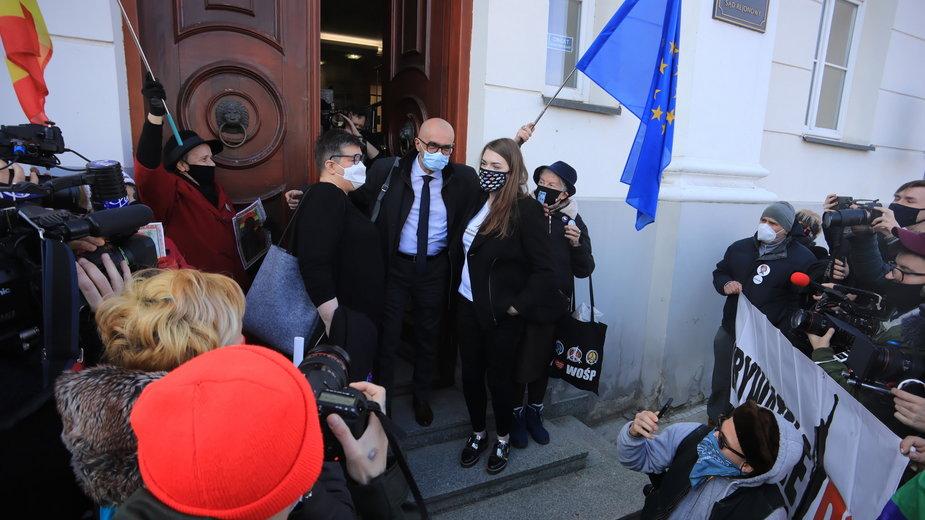Pikieta przed sądem w Płocku w obronie oskarżonych, 2 marca 2021 r.