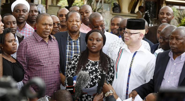 Mt Kenya leaders caucus during a past presser in Naivasha (The Standard)