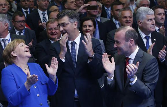Angela Merkel, Manfred Veber i Andrej Plenković