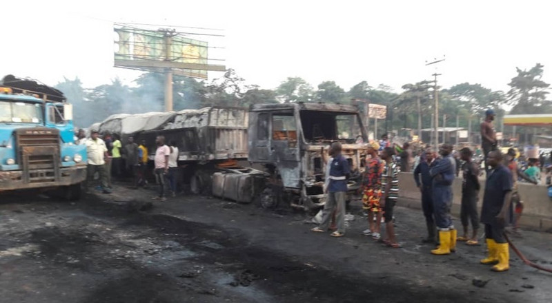 2 die, 17 vehicles burnt in Sango-Ota tanker accident