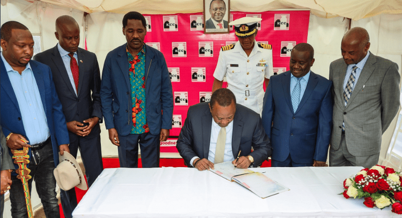 President Uhuru Kenyatta during the inauguration of the revamped New KCC Dandora Factory as part of celebrations to mark Ushirika Day Celebrations 2019