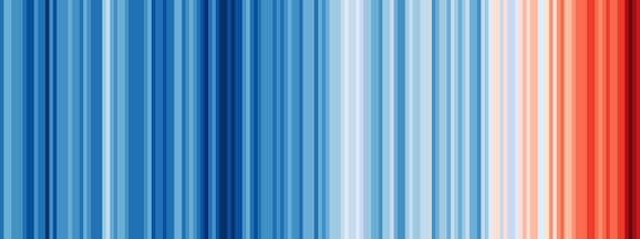Prugasta grafika pokazuje zagrevanje od 1850-2018. Plave pruge predstavljaju hladnije godine, dok su najtoplije one tamnocrvene