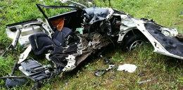 Przerażający wypadek Ukraińca. Z auta nic nie zostało