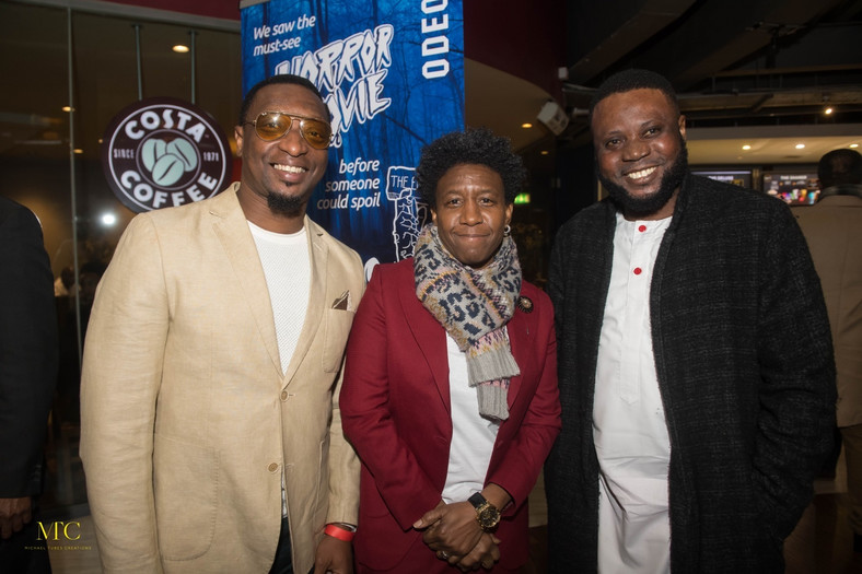 Weird MC (middle), Mike Aremu (right) at the London premiere of 'Between' [Michael Tubes Creation]