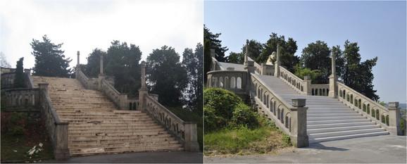 Izgled Velikog stepeništa pre i posle rekonstrukcije