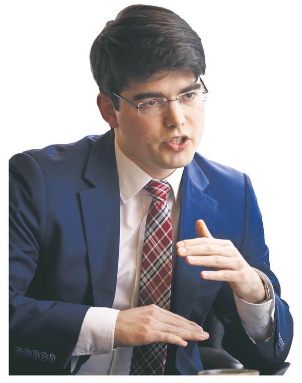 Aleś Alachnowicz, doradca Swiatłany Cichanouskiej ds. reform gospodarczych, wiceprezes think tanku CASE Białoruś  fot. Wojtek Górski