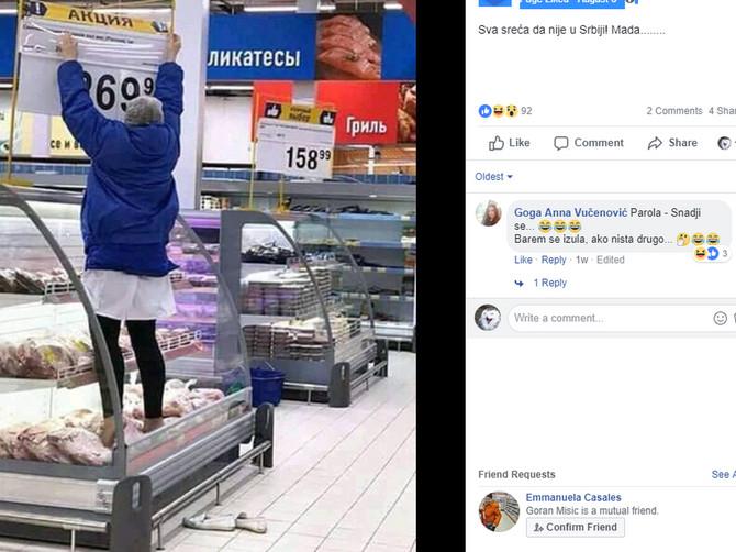 Prodavačica se popela samo da promeni cenu: Zbog ove fotografije se ljudima prevrće želudac