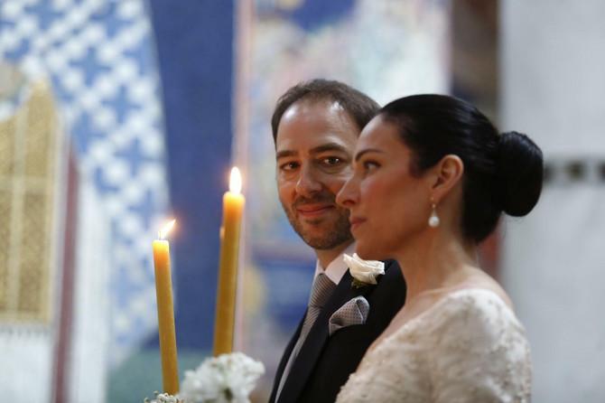 Knez Dušan Karađorđević sa Valerijom Demuzio na venčanju u crkvi na Oplencu