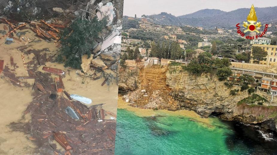 W Camogli do morza runęła część cmentarza z trumnami