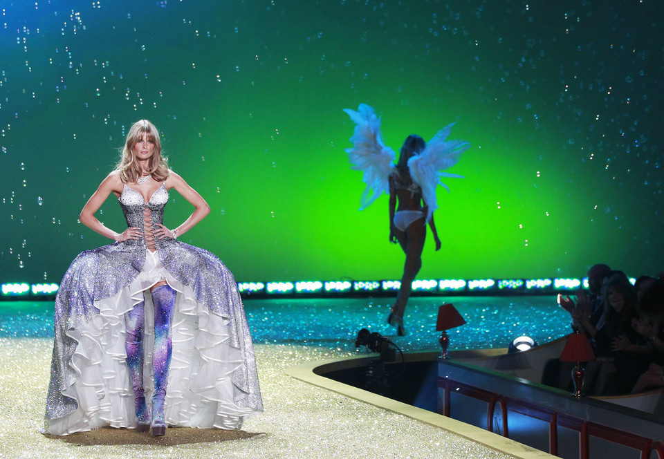 Model Julia Stegner presents a creation during the Victoria's Secret Fashion Show at the Lexington Armory in New York