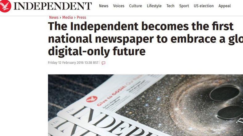 """""""The Independent"""" juztylko w wersji elektronicznej"""