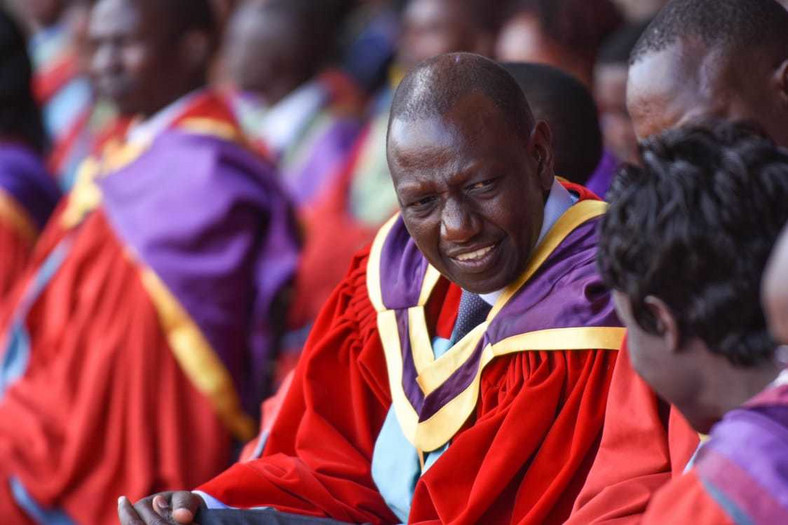 Deputy President William Ruto at the UoN graduation square before he was conferred with his PhD (twitter)