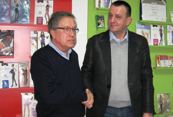 """Vlasnik """"Proletera"""" Rajner Baumbaher i predsednik Ivanjice Zoran Lazović"""