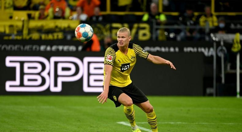 Erling Braut Haaland scored with a stunning lob in a two-goal haul for Dortmund on Sunday Creator: Ina Fassbender