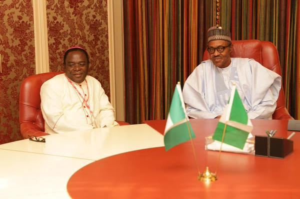 President Muhammadu Buhari meets with Reverend Matthew Kukah on August 27, 2015 at the villa (Presidency)