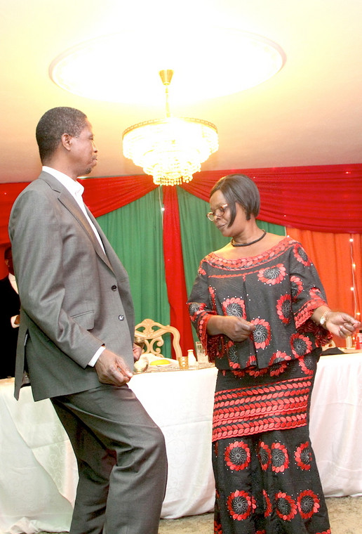 President Lungu with First Lady, Esther Lungu shake all their worries away at a past function.