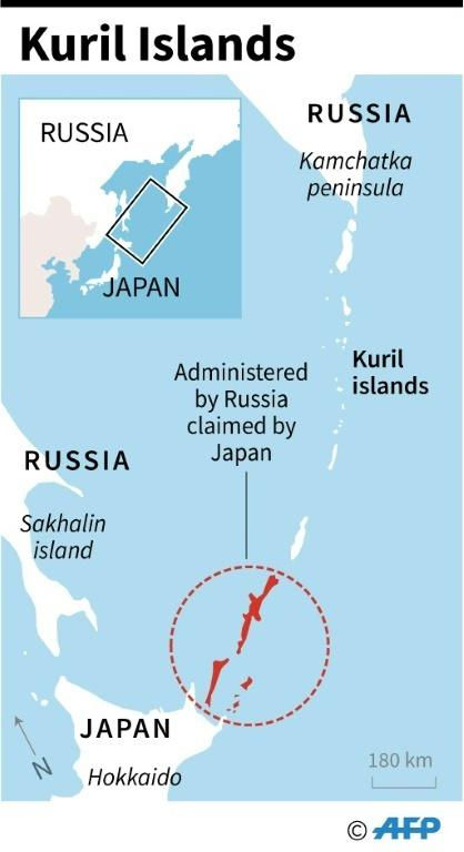 Map showing the Kuril islands disputed by Japan and Russia.