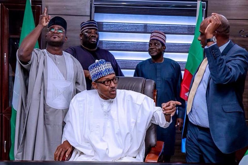 President Muhammadu Buhari with Minister Amaechi and Governors of Kogi and Plateau States (Presidency)