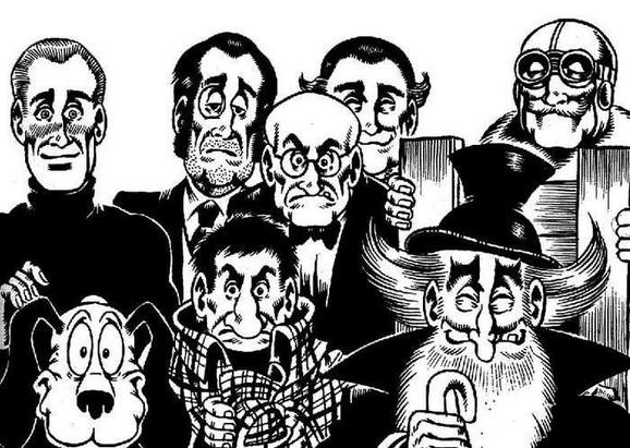 Grupa TNT, s leva:Alan Ford, Nosonja, sir Oliver, BobRok, Jeremija, debeli šef (njegovo puno ime je Gervasijus Tvinklminklson), Broj 1 i Grunf
