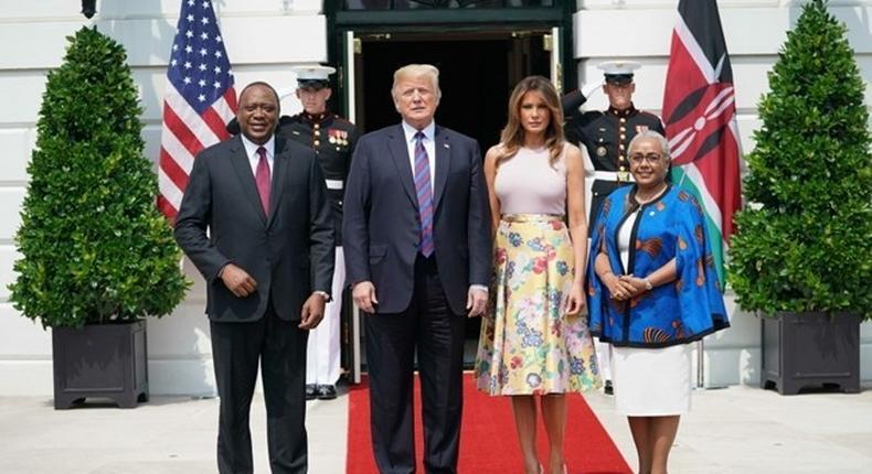 File image of Kenya's President Uhuru Kenyatta, US President Donald Trump, America's First Lady Melania Trump and Kenyan First Lady Margaret Kenyatta