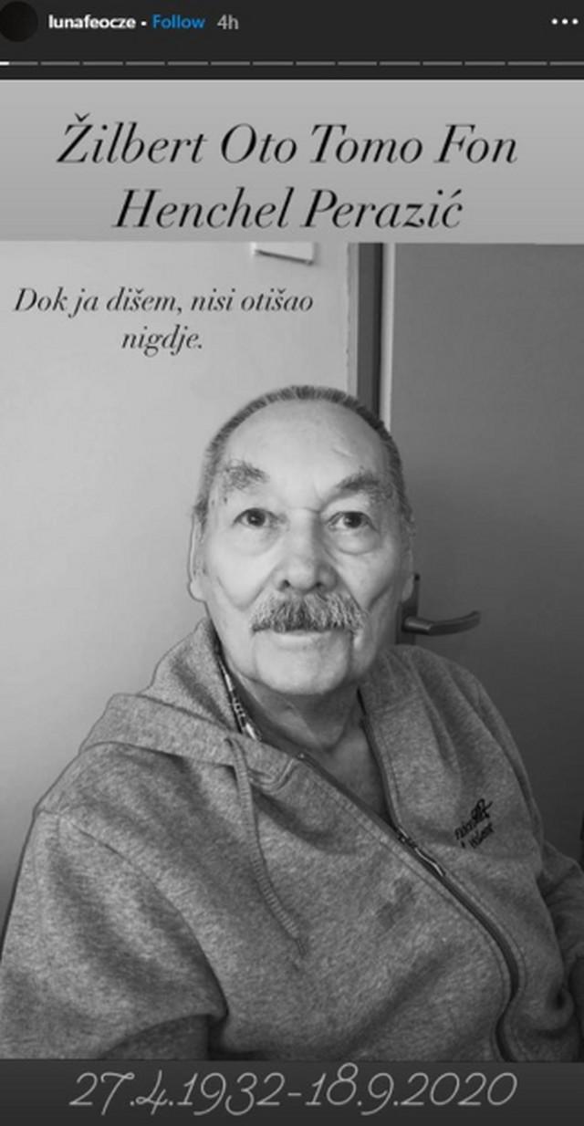 Ćerka Marine Perazić oprostila se od dede