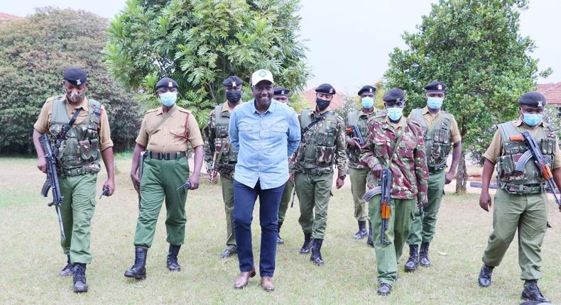 Deputy President William Ruto together with Administration Police officers manning his Karen residence