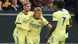 Martin Odegaard (centre) celebrates after scoring for Arsenal against Burnley Creator: Lindsey Parnaby