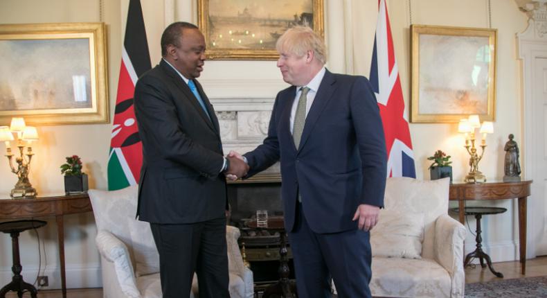 President Uhuru Kenyatta meets British Prime Minister Boris Johnson. (twitter/StateHouseKenya)