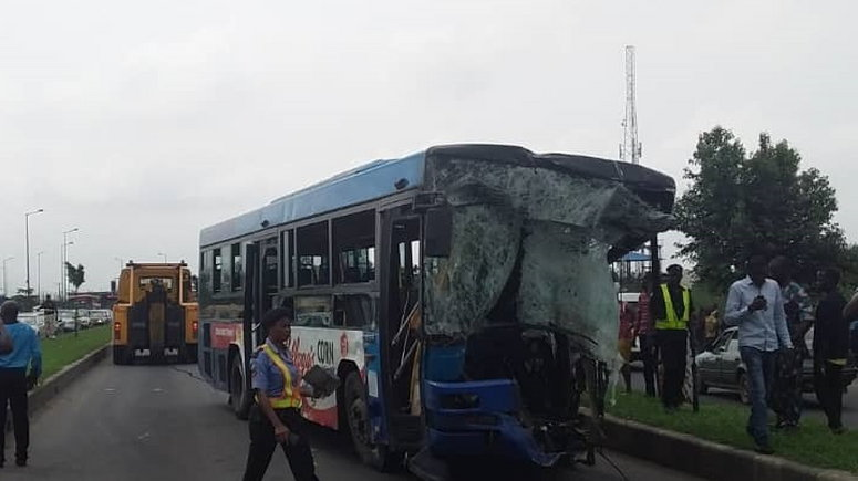 The BRT vehicle was crushed by the Dangote cement truck [LASTMA]