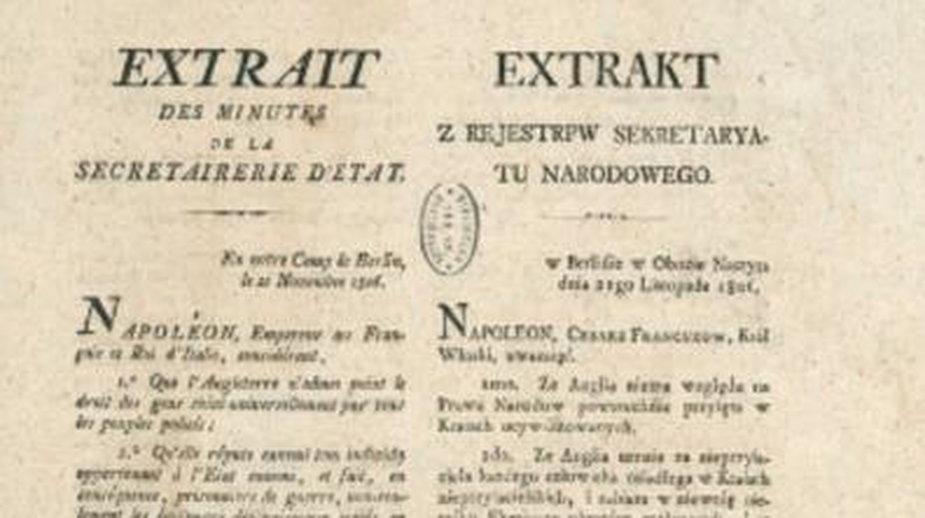 21 listopada 1806, Napoleon Bonaparte podpisał w Berlinie dekret wprowadzający blokadę kontynentalną - domena publiczna