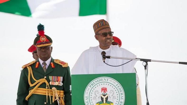 President Buhari addressing Nigerian army in Kadunaon Saturday, September 12, 2015