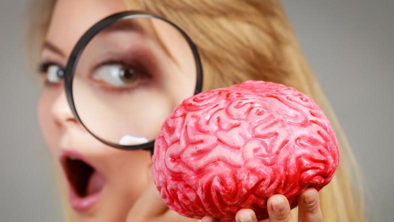 Kobieta ogląda przez lupę mózg