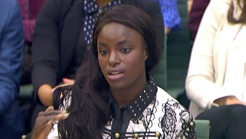 England football player Eniola Aluko gives evidence to the Houses of Parliament in London