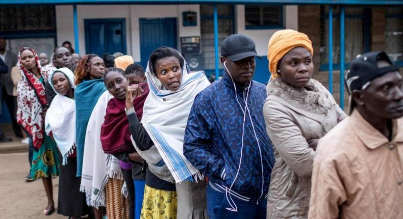 Kenyans in a queue at a past event. (BBC)