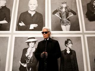 FILE PHOTO - Chanel's creative director Lagerfeld poses before the opening of his photo exhibition e