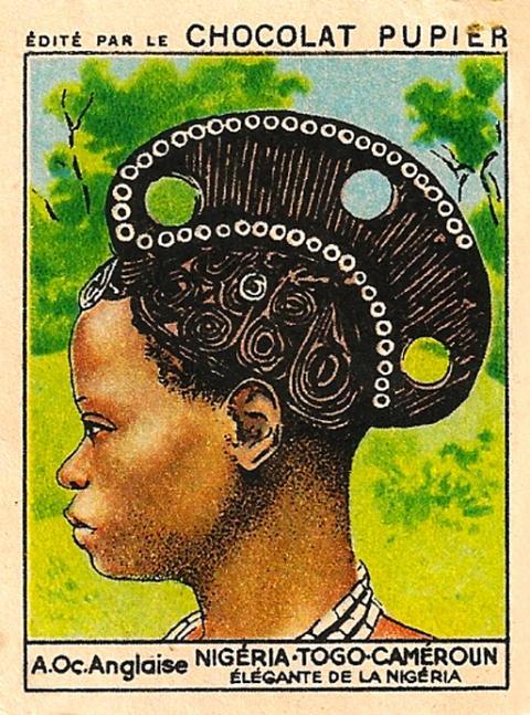 "Élégante De La Nigéria"" (1950), trading card with an illustration of an Igbo woman [Ukpuru]"